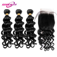 Indian Virgin Hair Bundles With Closure Natural Wave Color 3 Piece 4x4 Swiss Lace Free Middle Part Human Baby Extension