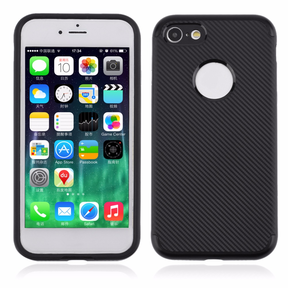 Novelty Design Super TPU+PC Carbon Fibre Pattern Protective Back Case Cover Suitable For Iphone7/7plus
