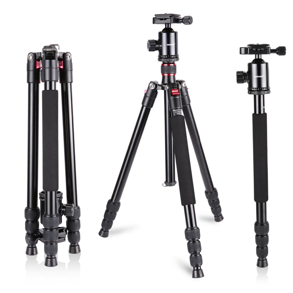 Neewer Aluminum Alloy 64 inches/162 cm Camera Travel Tripod Monopod with 360 Degree Ball Head,1/4 inch Quick Shoe Plate neewer 360 degree rotation handheld pistol grip head sliding plate for canon nikon camcorder monopod tripods with 1 4 inch screw