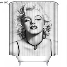 YO CHO 3d Marilyn Monroe Shower Curtain Fashion Polyester WaterProof Fabrics bathroom curtain mermaid Bath Curtain with Hooks(China)