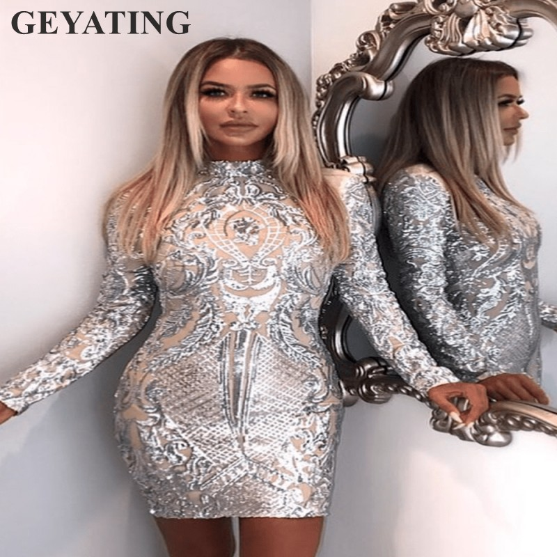 2019 Silver Sequined Short Cocktail Dresses Long Sleeves High Neck Sheath Mini Club Party Dress Bodycon Elegant Formal Gowns
