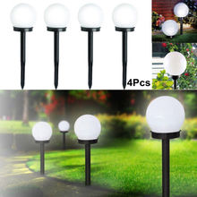 4 Pcs LED Ground Garden Light Solar Round Ball Automatic Waterproof Outdoor Path Lights Lawn Lamp Tuinverlichting Led Jardin