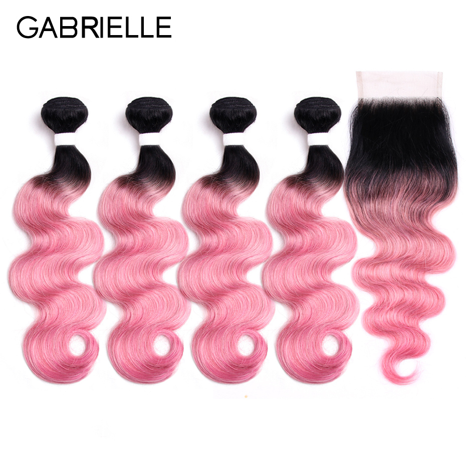 Gabrielle Ombre Hair Brazilian Body Wave with Closure Ot Rose Pink Non Remy Human Hair Weave 4 Bundles with Lace Closure