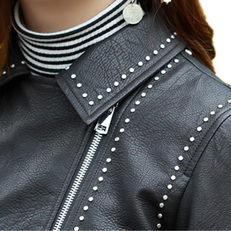 Automne Rivet Femmes Cuir Pu En Zipper Black Nouveau Noir Broderie Faux Vintage Design Printemps Manteau Gypsophila Manteaux Court Veste AxXqn0IO