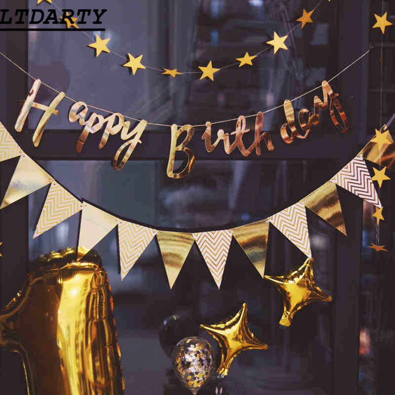 Happy Birthday Bunting Banner Gold Sliver rose gold  Letters Happy Birthday Garlands String Baby Shower Birthday Party Decor