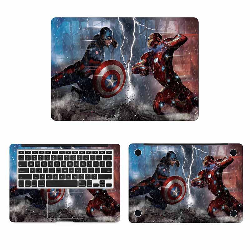 Captain America VS Iron Man Full Body Cover Skin for Macbook Sticker Pro Air Retina 11 12 13 15 inch Mi Super Heros Laptop Decal