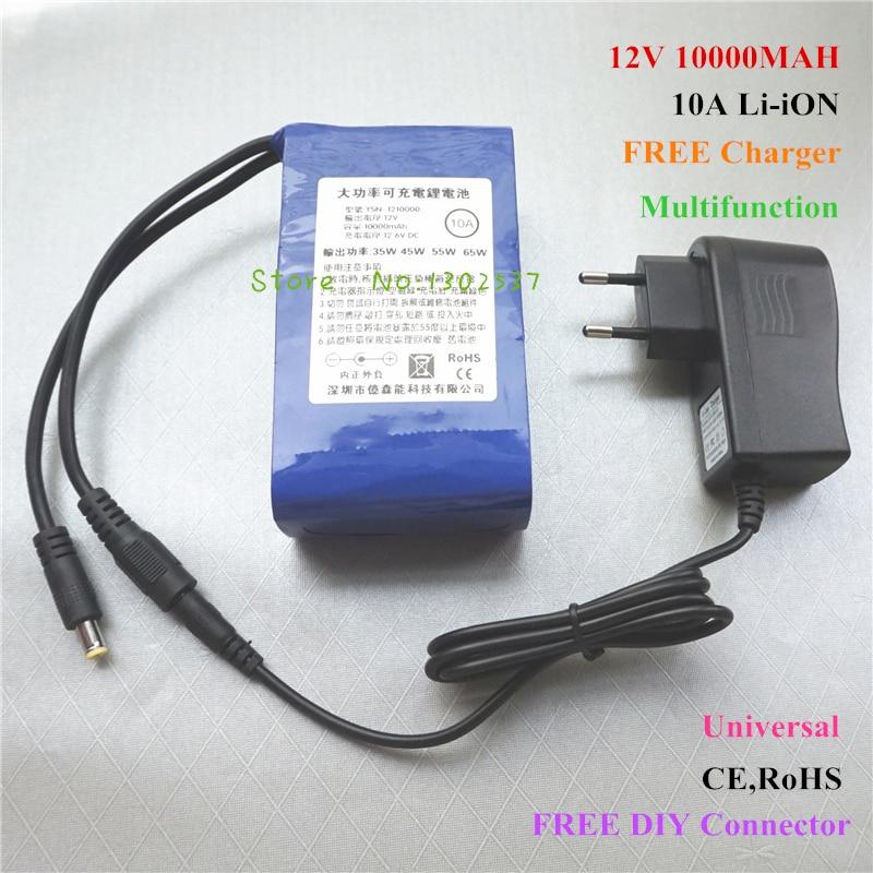 Haute qualité 12 V 10000 MAH 10A rechargeable lithium Li ion batterie pour batterie externe chargeur gratuit, 5 V USB Buck convertisseur, connecteur de bricolage