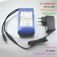 High quality 12V 10000MAH 10A Chargeable lithium Li ion Battery for Power bank Free Charger,5V USB Buck Converter,DIY Connector