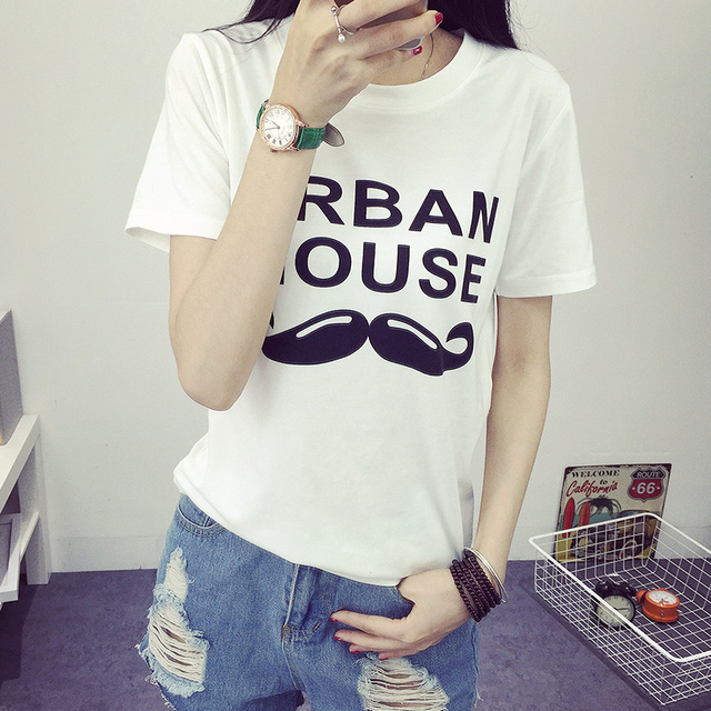 ce1bb58463b URBAN MOUSE Letter print t shirt women 2016 summer fashion o-neck short  sleeve camisetas mujer tops tee