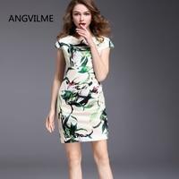 ANGVILME New Spanish Design 2017 Women Summer Print Dress Many Silm Style Brief Elegant Good Quality