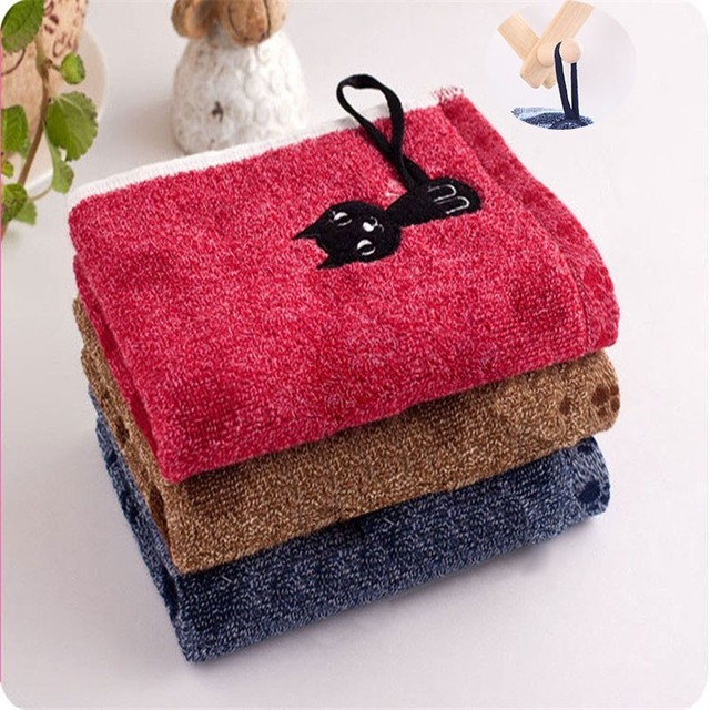 1Pc Cute Cartoon Long Tail Cat Print Cotton Towel Creative Kitten Pattern Soft Child-Towel Household Face Towels Home Textile