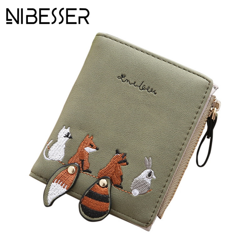 NIBESSER Minimalist Wallet Women Cartoon Fox Coin Purse Change Pouch Money Bags Lady Pocket Wallets Key Holder Mini Zipper Purse