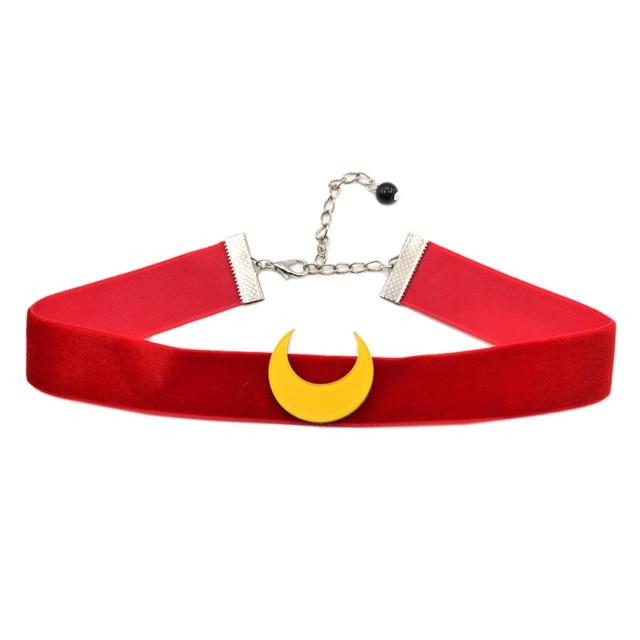 fashion lychee Anime Sailor Moon Choker Necklace Tsuking Usagi Red Ribbon Moon Pendant Cosplay Chocker Necklace For Women Girl
