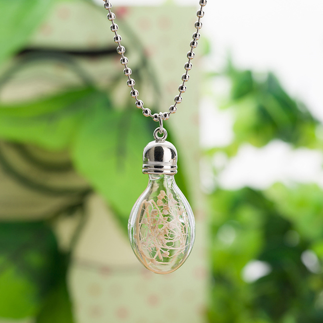 10pcs Lot Bottle Glass Necklace Dried Flower Necklace Glass Bulb