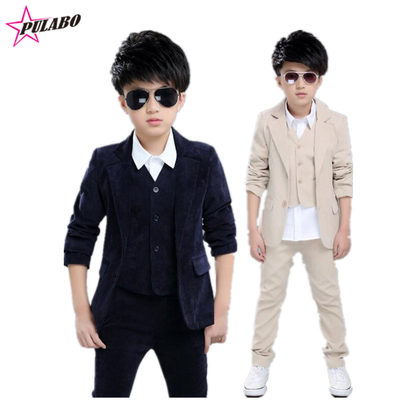 ФОТО Wedding suits for baby boys 3 pieces set autumn spring 2016 kids leisure clothing sets kids baby boy suit vest gentleman clothes