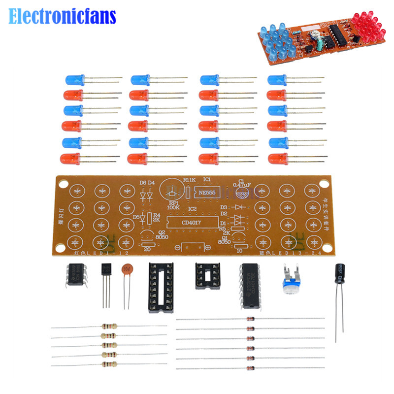 NE555 + CD4017 Red Blue Double Color Flashing Lights Board Kit Strobe Practice Learning DIY Kits Electronic Suite Parts Module