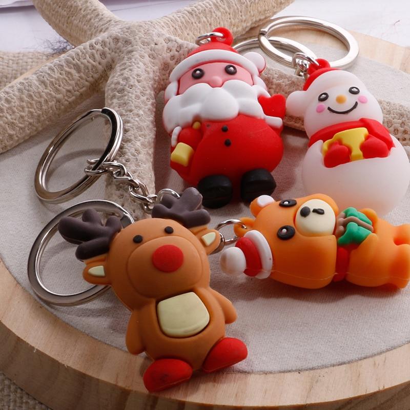 Cute PVC Silicone Santa Claus Snowman Reindeer Keychains Key Holder Christmas Gifts Women Car Bag Accessories Key Ring Chaveiro
