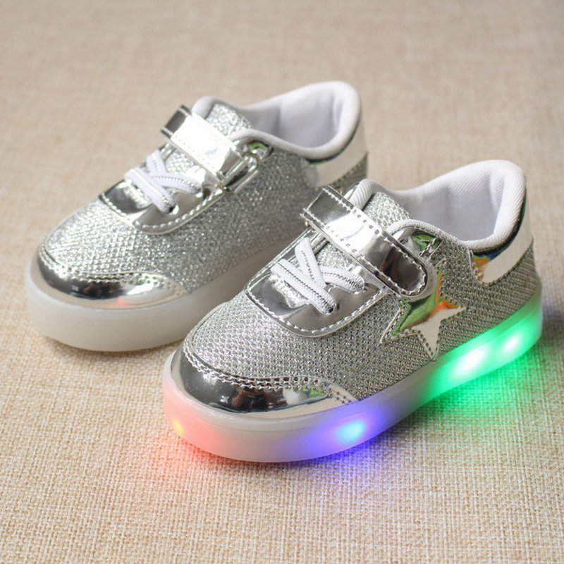 2016 New Autumn Toddler Brand Kids LED Luminous Sneakers Breathable Child Colorful Flashing Baby girls Sport Shoes with light