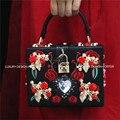 Designer de luxo saco de Mão Floral Runway Barroco Bordado Real Lady bag Bolsa caso Difícil