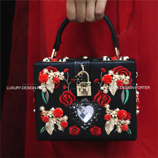 Luxury Designer Baroque Embroidery Royal Floral Hand bag Runway Lady bag Purse Hard case