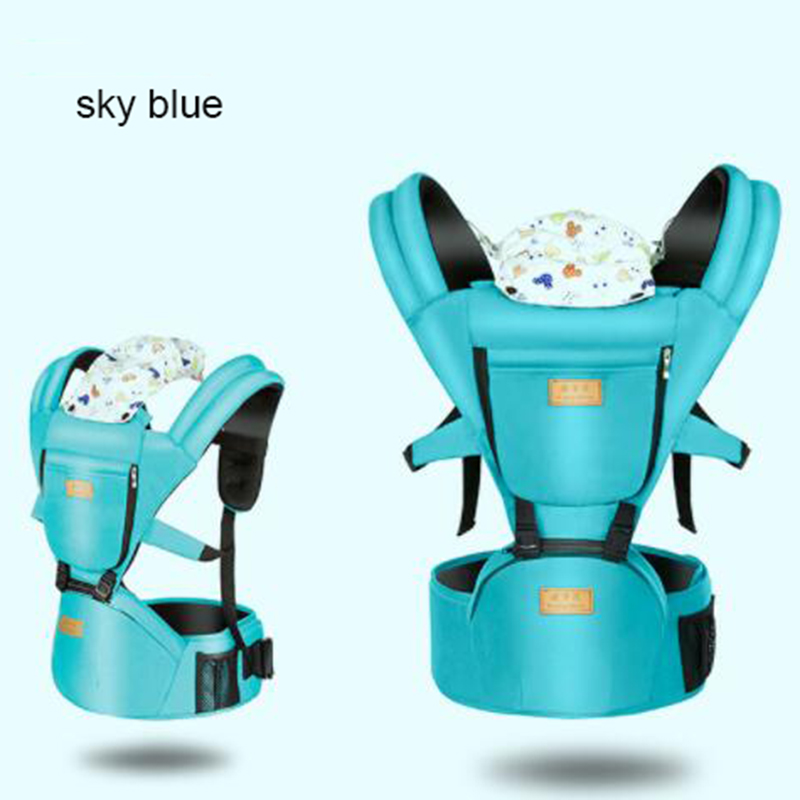 3 uses baby carrier hip seat sling backpacks infant kids multi-function kangaroo suspenders four season waist stool with hat multi function portable comfortable cotton baby carrier sling bag deep blue white