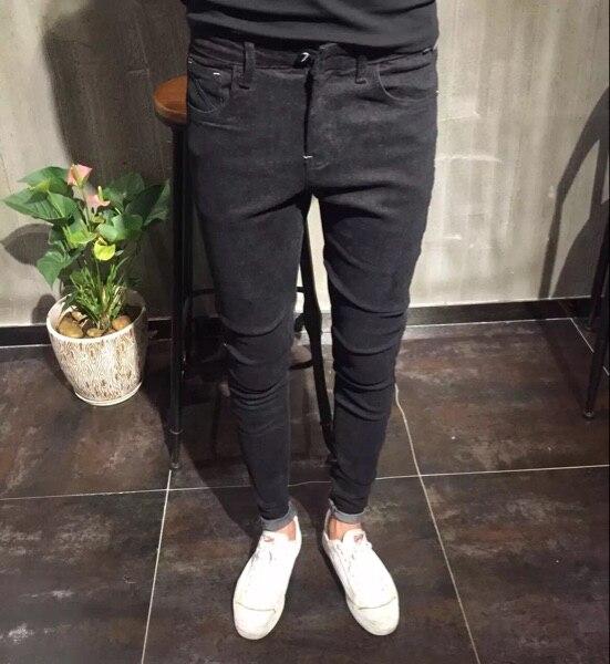 16 new winter Korean Metrosexual slim feet elastic fleece casual jeans - Reds social explosion