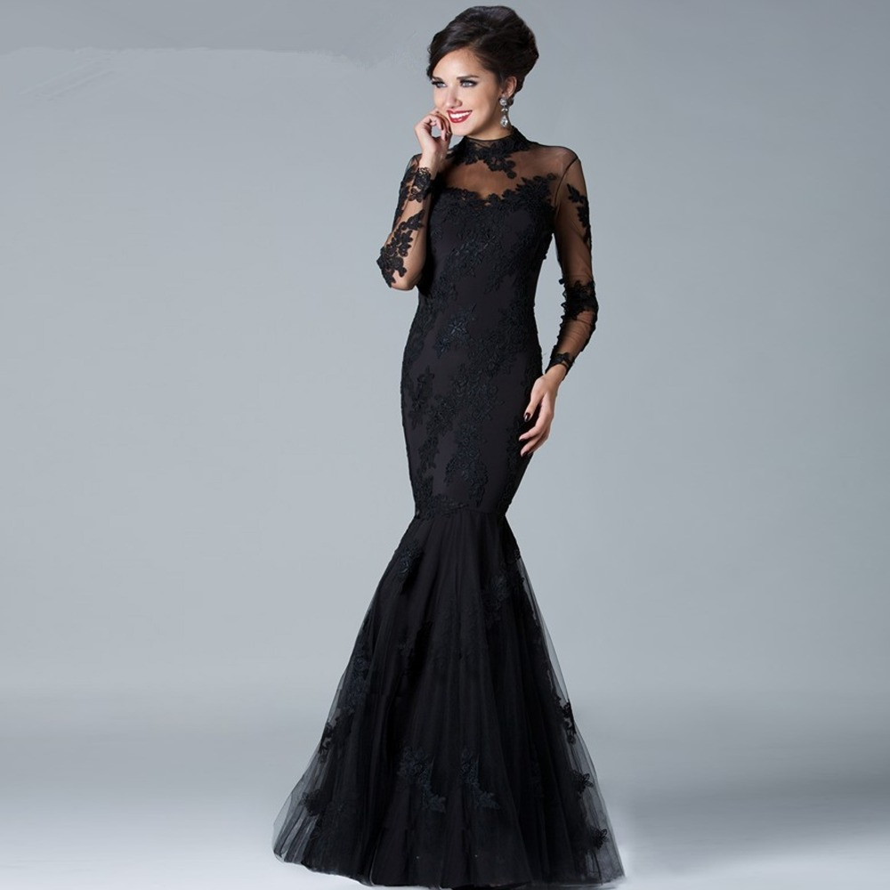 Elegant Long Sleeve Lace Mermaid High Neck Wedding Black Dress-in ...