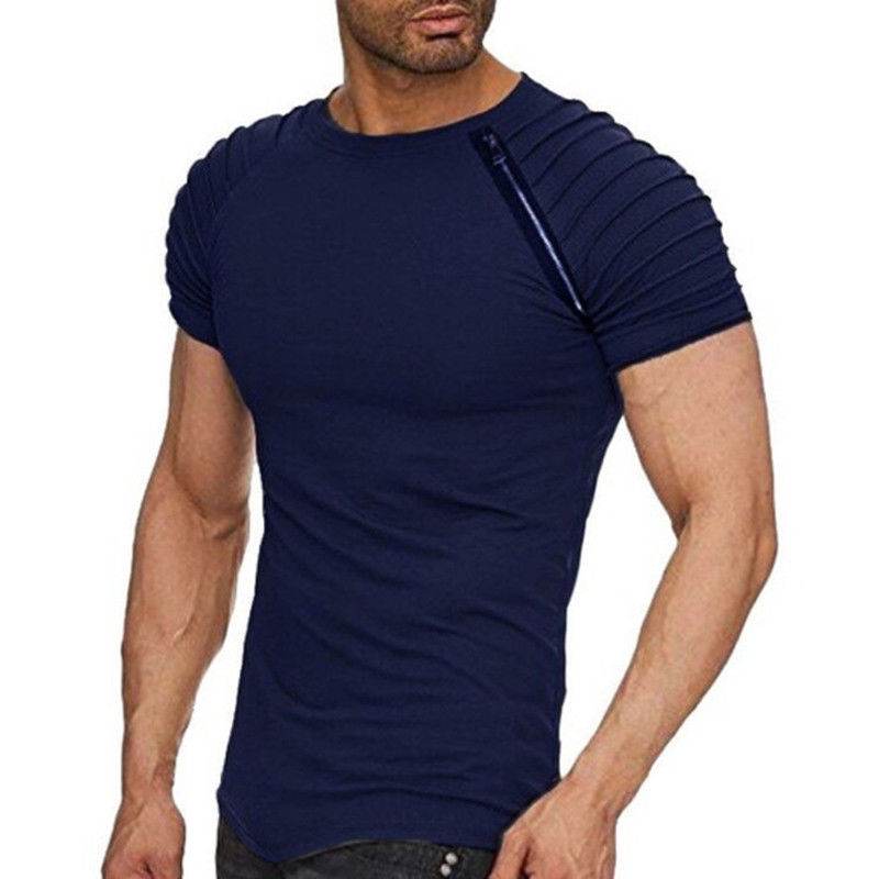 2018 Short Sleeve Men T Shirt Pleated Zipper Shoulder Jacquard Striped Slim Fit T-shirt Men Hem Hip Hop Top Tees Streetwear