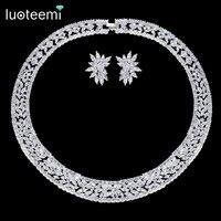 LUOTEEMI Fashion Wedding Jewelry Shining Clear Cubic Zirconia Choker Necklace Earring Set For Women Bridal Jewelry Set Bijoux