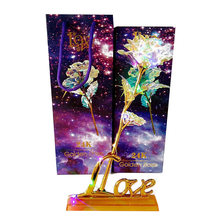 Luminous Rose Eternal Flower Valentine Gift Home Ornament Luminescence 24K Gold Foil Beautiful Romantic Wedding