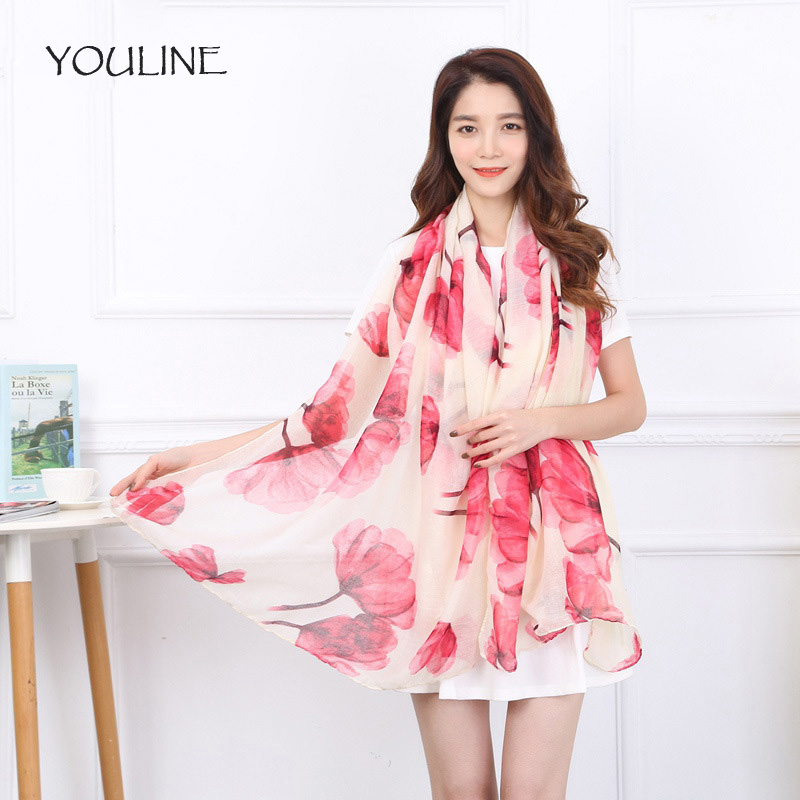 YOULINE Fashion Women Scarf flower Color Soft Shawl Scarves Female Cotton Scarves Spring Autumn Scarves for Women S17018