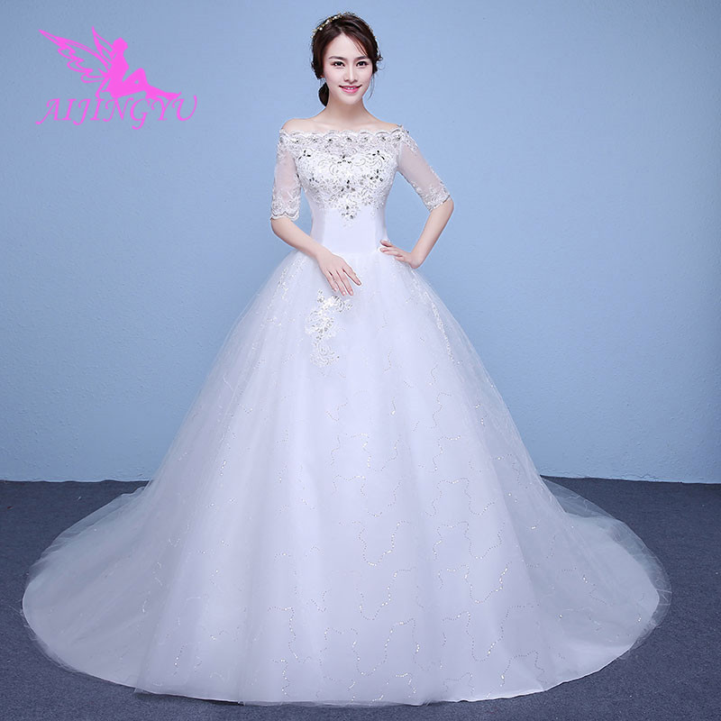 AIJINGYU 2018 princess free shipping new hot selling cheap ball gown lace up back formal bride dresses wedding dress WK190