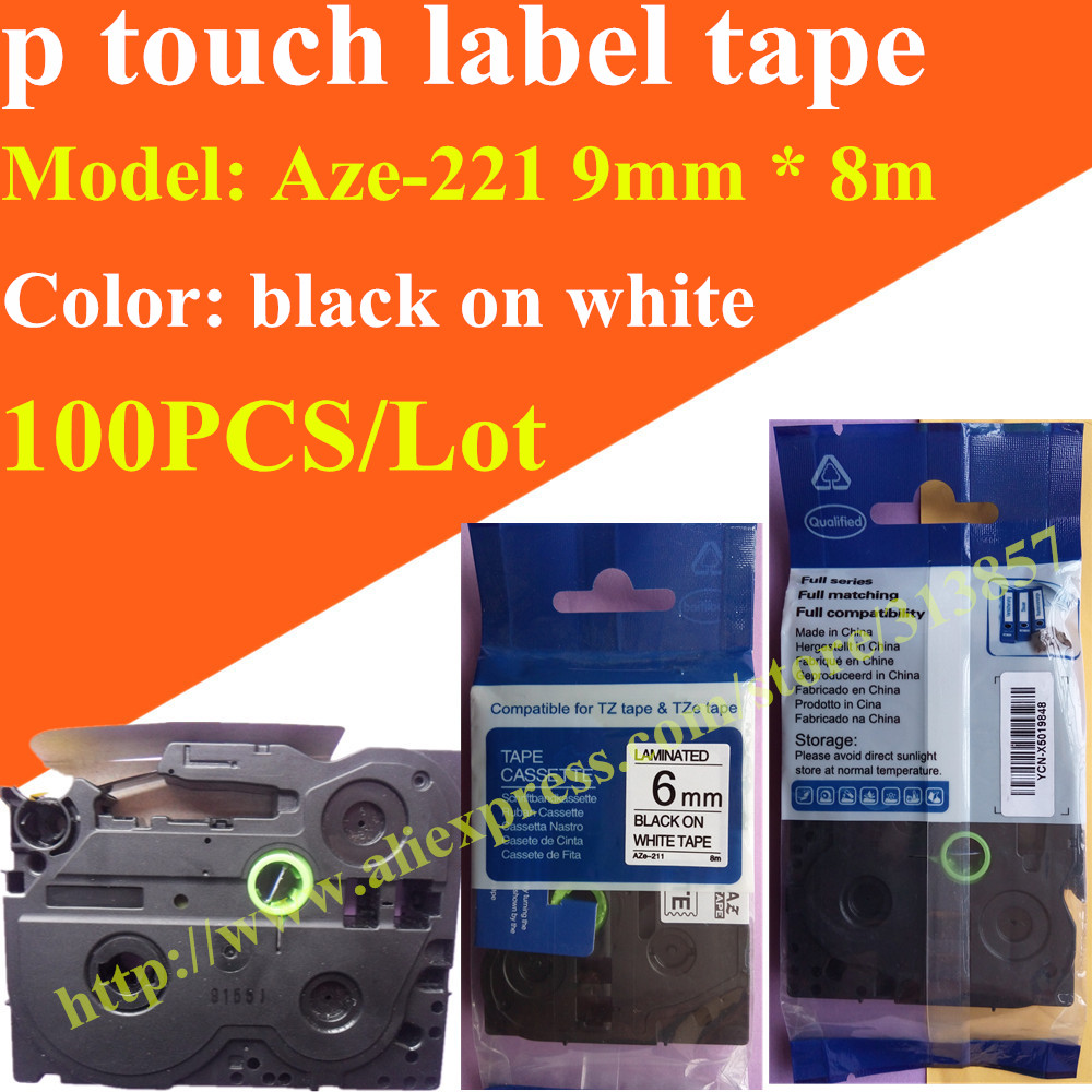 Color printing label maker - Free Shipping 100pcs Black On White Label Maker Mixed Tze 221 Tape Paper Tags Aze