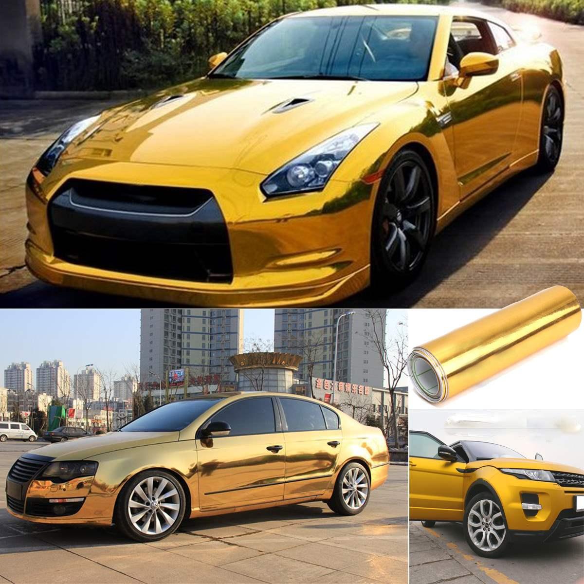 Car sticker design selangor - Gold Golden Chrome Mirror Vinyl Wrap Film Car Sticker Decal Bubble Free Air Release Diy Car