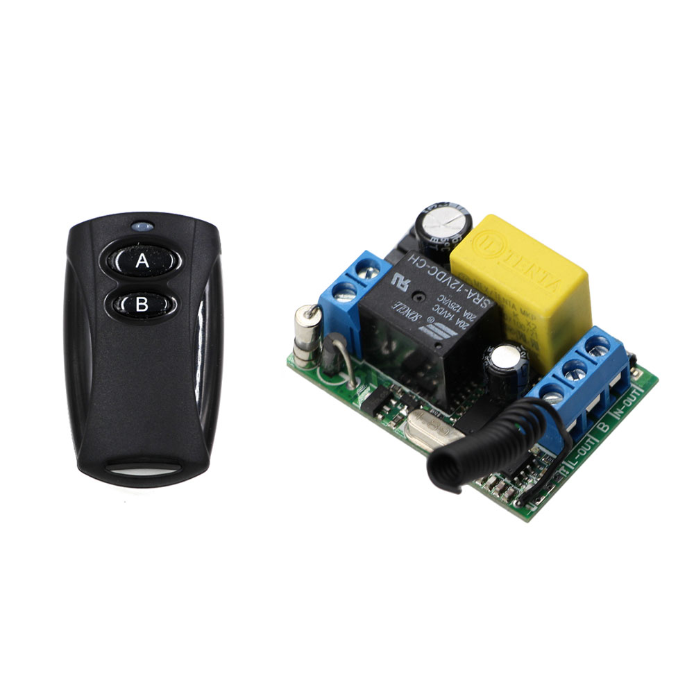 New AC 220V Wireless Remote Control Switch Remote Light Power Switch Radio Relay 1CH 1 CH Receiver + Black Wireless Transmitter ac 220v wireless remote control switch 1ch relay module receiver transmitter led lamp light strips power remote control switch