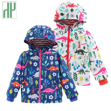 Kids jacket dinosaur printing Windbreaker for girls Autumn spring jacket toddler boys Girls Trench Coat children's Outerwear new original fx2n 4da plc digital to analog converter