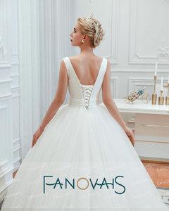 Image 5 - Fanovais טול V צוואר פשוט אלגנטי ראפלס Vintage כלה שמלות כלה שמלות Vestido דה Novia robe דה mariee