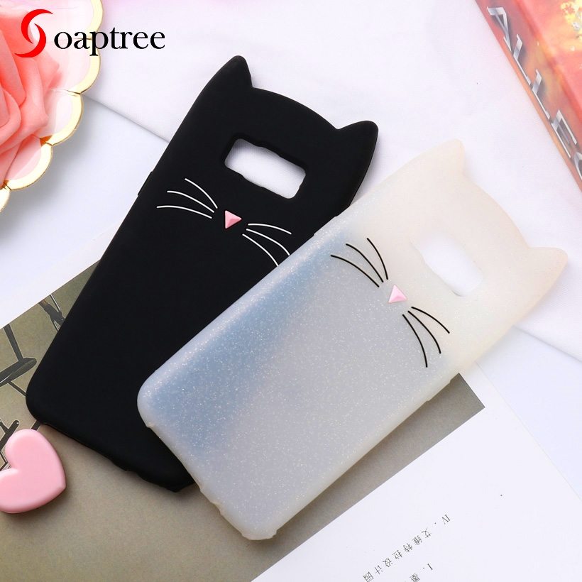 Soaptree 3D Cute Cartoon Cat Ear Case For Samsung Galaxy S8 Plus Cases Soft Silicone Protective Cover On the for Samsung S8 Plus in Fitted Cases from Cellphones Telecommunications