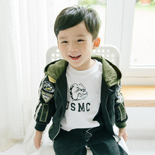 Childrens clothing spring and autumn new fashion coat 2019 baby pure ribbon multi-standard hooded jacket boys clothes
