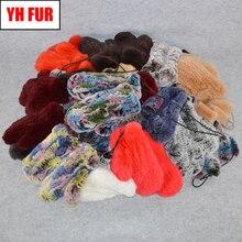 Hot Sale Winter Real Fur Gloves Women Elastic Handmade Knit Real Rex Rabbit Fur Gloves Outdoor Natural Rex Rabbit Fur Mittens