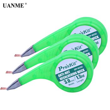 UANME 1 sztuk rozlutownica Wick taśma rozlutownicza zmywacz do lutów przyssawka narzędzie do pompy rozlutowującej Proskit BGA knot lutowniczy tanie i dobre opinie DP-033D