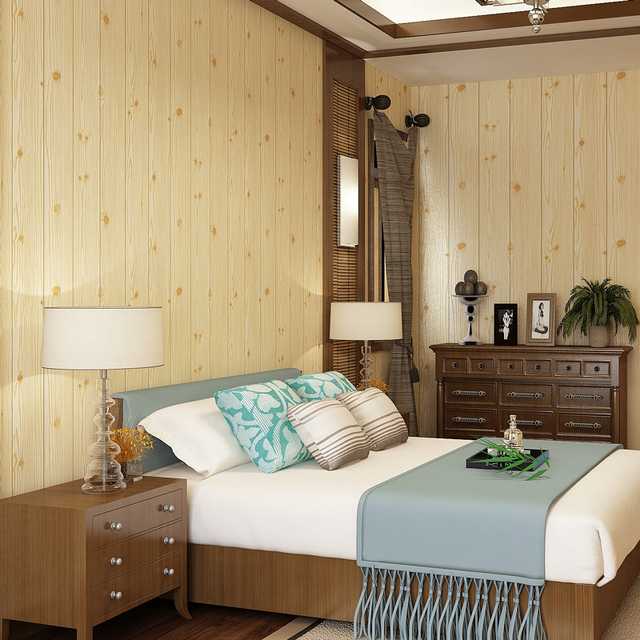 Wood Panel Wood Grain Wallpaper For Walls Roll Hotel Bedroom Living ...