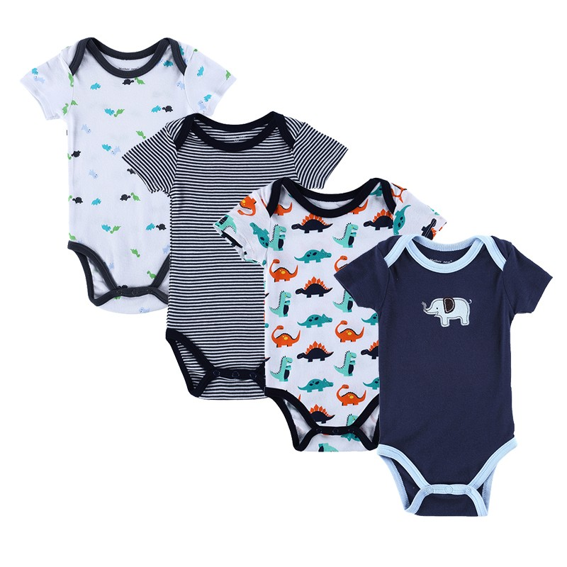 4PCS Baby Brand Boy Girl Bodysuits Short Sleeve Striped Style Newborn Clothes Bodysuits & One-Pieces Baby Clothig Color Blue (6)
