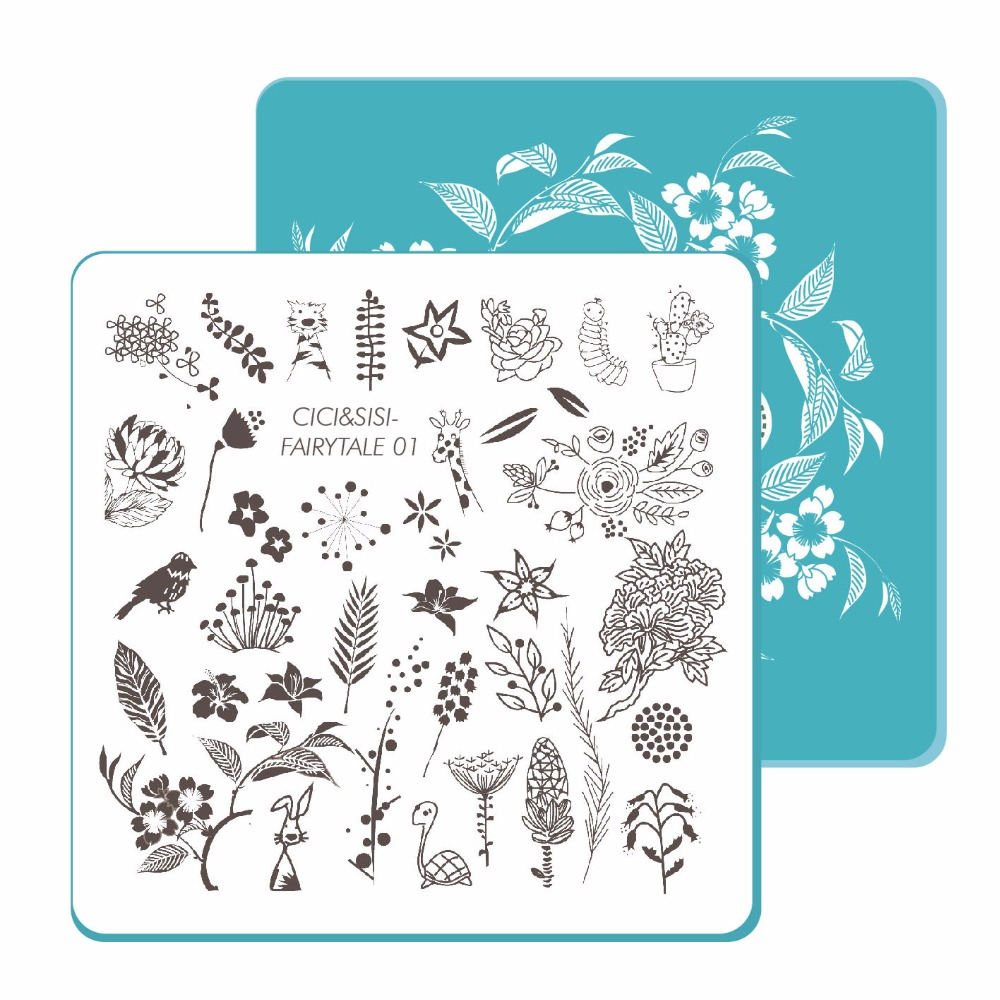 CICI & SISI Nail Stamping Plates Nail Stamp Unik Akrilik Manicure - Seni kuku