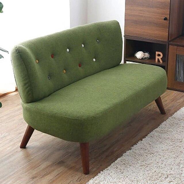 Moderne Wohnzimmer Sofa 2 Sitzer Leinen Polsterung Holz Beine