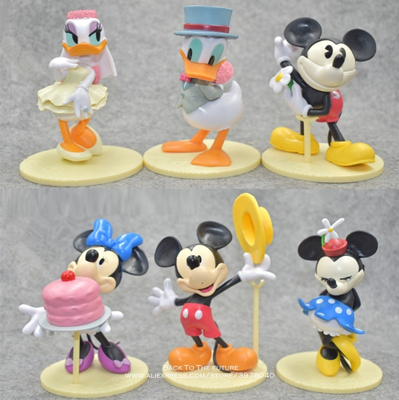 Disney Mickey Mouse Minnie 6pcs/set 12cm Action Figure Posture Anime Decoration Collection Figurine Toy model for children gift 6pcs set turtle action figure doll toy super warrior turtle and mouse teacher turban turtle mini figurine deco for home