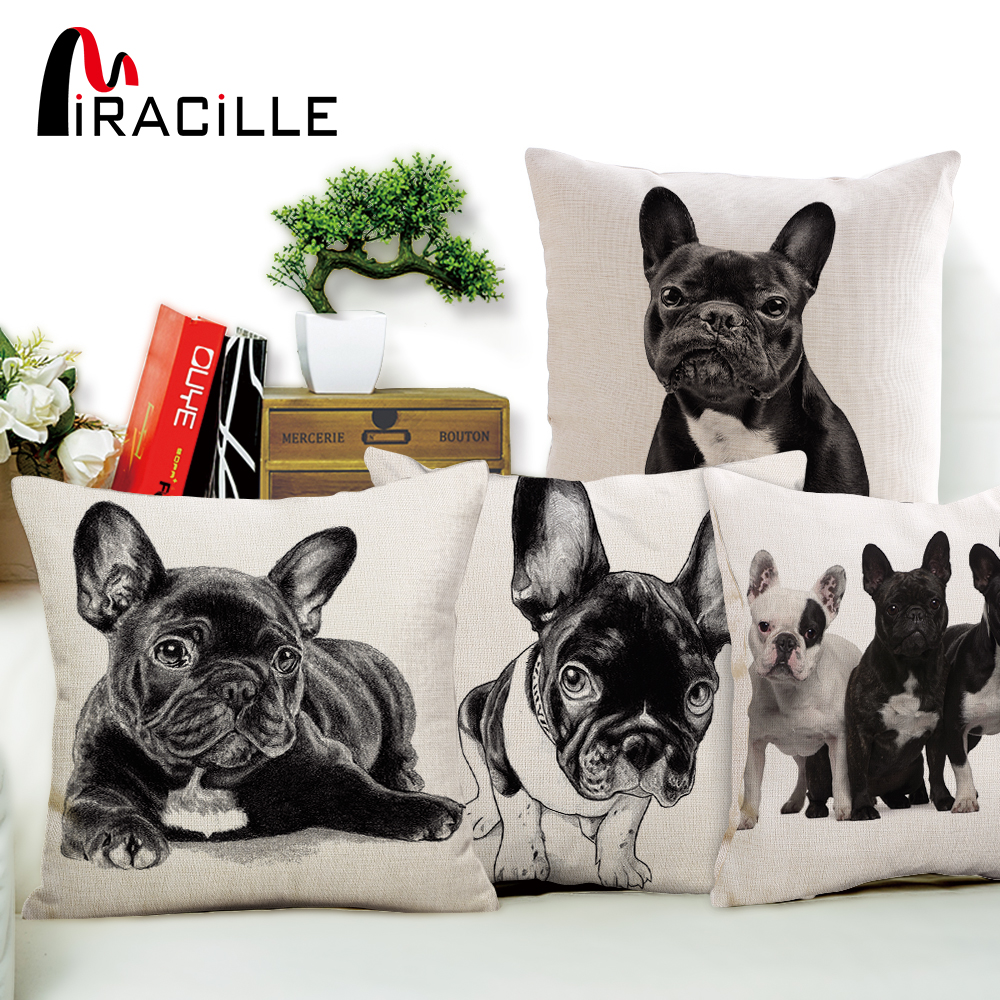 "Miracille 18""Cotton Linen French Bulldog Digital Print Square Decorative Throw Pillow Cushions For Sofa Car Home Decor No Fill"