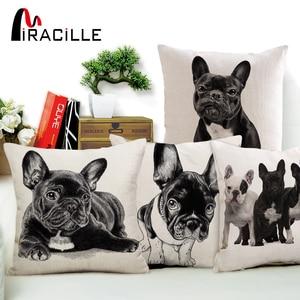"Miracille 18""Cotton Linen French Bulldog Digital Print Square Decorative Throw Pillow Cushions For Sofa Car Home Decor No Fill"