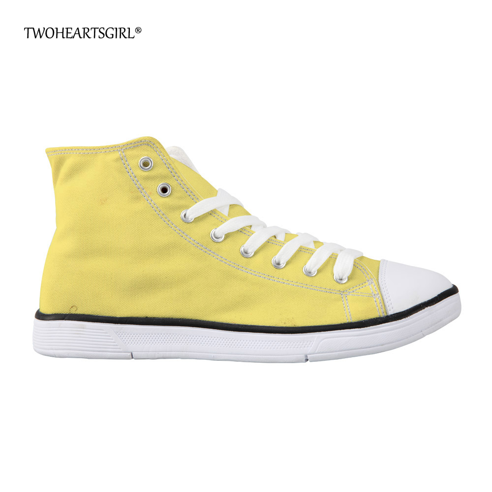 Twoheartsgirl Yellow High Top Ladies Canvas Shoes Solid Casual - Damskor