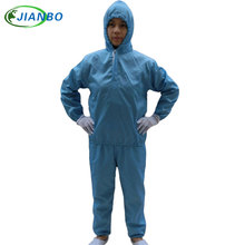 High Quality ESD Anti-static Grid Fabric Paint Spray Suit Pharmaceutical Factory Cleanroom Body Safety Blue Protective Clothing